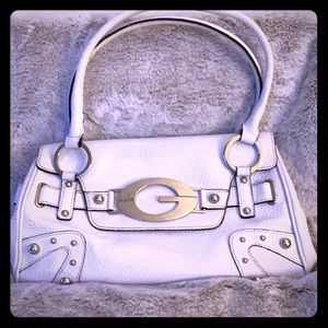 White GUESS retro shoulder purse